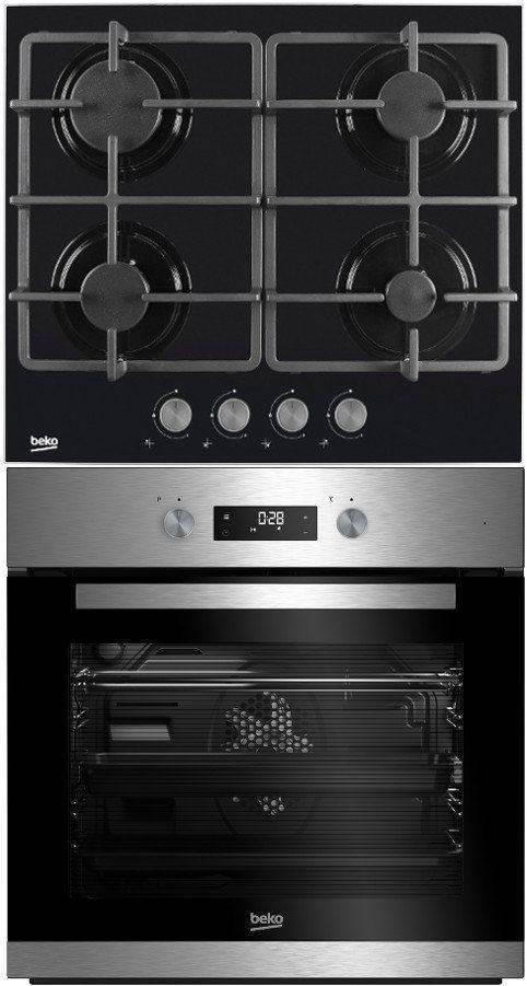 Modernistyczne Piekarnik BEKO BIM22302X + Płyta gazowa BEKO HISG 64225 S TF81