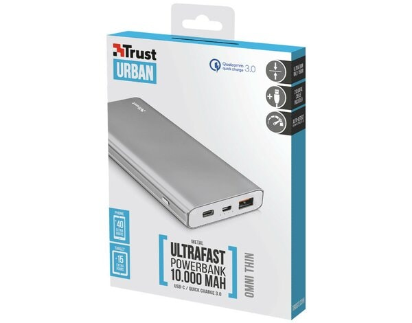 Powerbank TRUST Omni Thin metal Srebrny