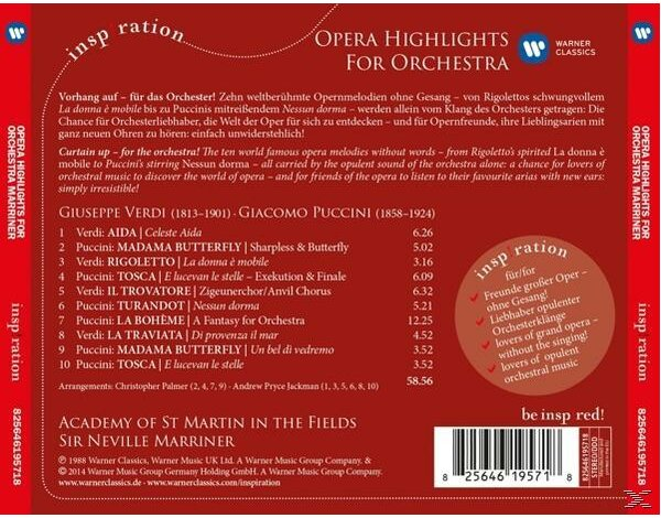 Opera Highlights For Orchestra